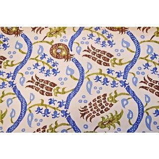 Brunschwig & Fils Nisiotiko Nutmeg/Canton Blue Linen Fabric - 3 Yards