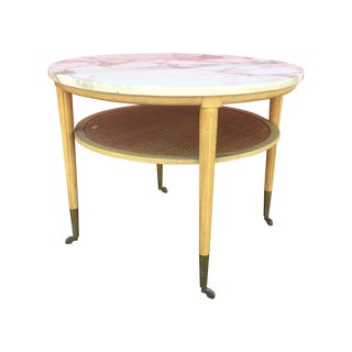 Mid Century Marble Top Table With Caned Shelf