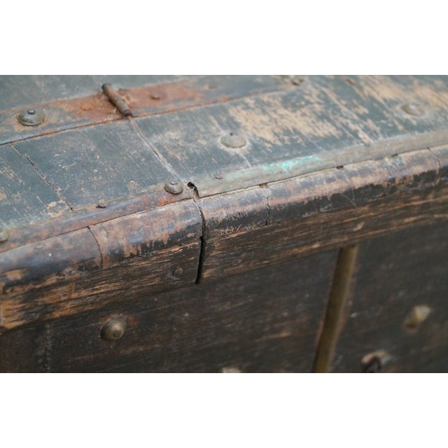 Antique Moroccan Iron & Brass Bound Lidded Chest - Image 9 of 10