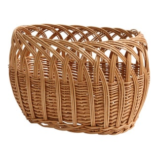 Vintage Boho Chic Wicker Magazine Rack Basket
