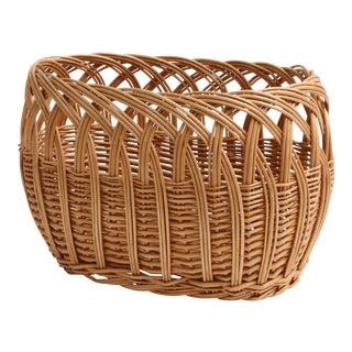 Vintage Boho Chic Wicker Magazine Rack Basket