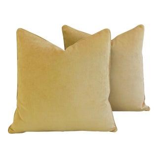 "Large Golden Velvet Feather & Down Pillows 24"" - a Pair"