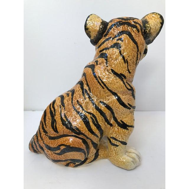 Hand Painted Italian Ceramic Tiger - Image 5 of 9
