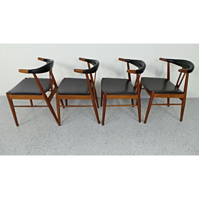 Hans Wegner Style Teak Leather Dining Chairs - 4 - Image 6 of 10