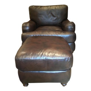 Dark Brown Leather Chair & Ottoman - A Pair