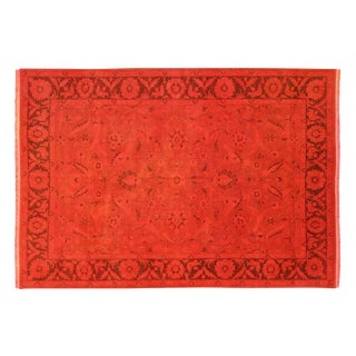 "Traditional Overdyed Red Floral Rug - 7'10"" x 11'8"