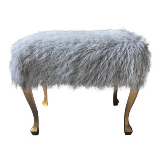 Vintage French Foot Stool with Mongolian Lamb Fur