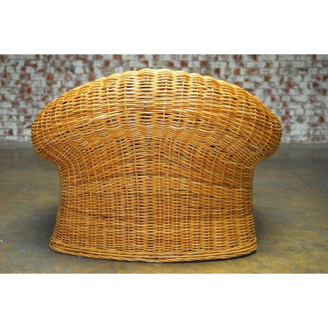 Michael Taylor Inspired Wicker Lounge Chair and Ottoman - Image 8 of 11