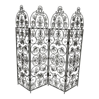 Antique Hand-Forged Iron Folding Screen