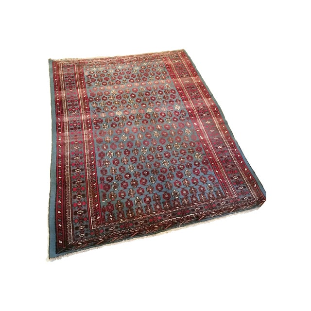 """Antique Blue/Red Persian Tribal Rug - 4'8"""" X 6'5"""" - Image 1 of 9"""