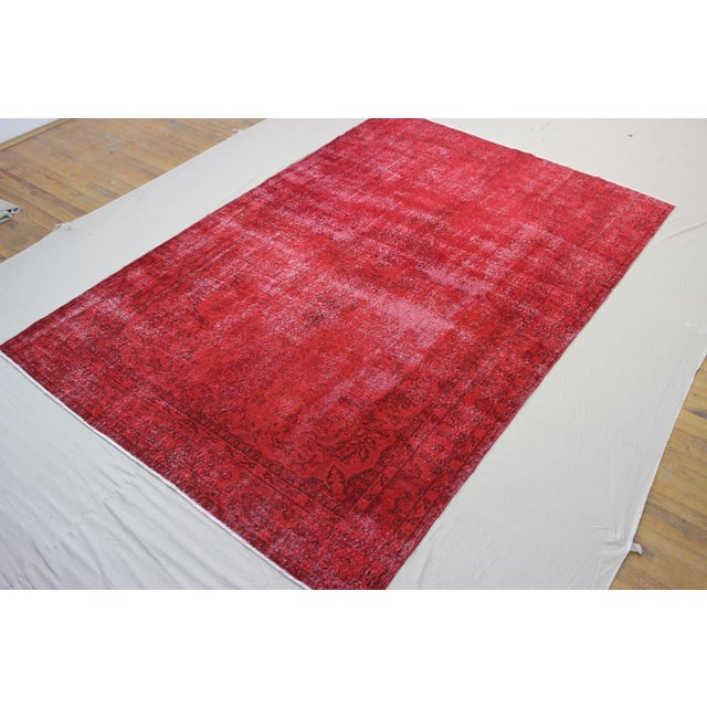 "Vintage Turkish Red Overdyed Rug - 7'2"" X 11' - Image 3 of 6"