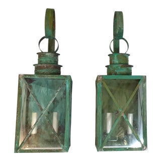 Large Architectural Wall Hanging Copper Lanterns - a Pair