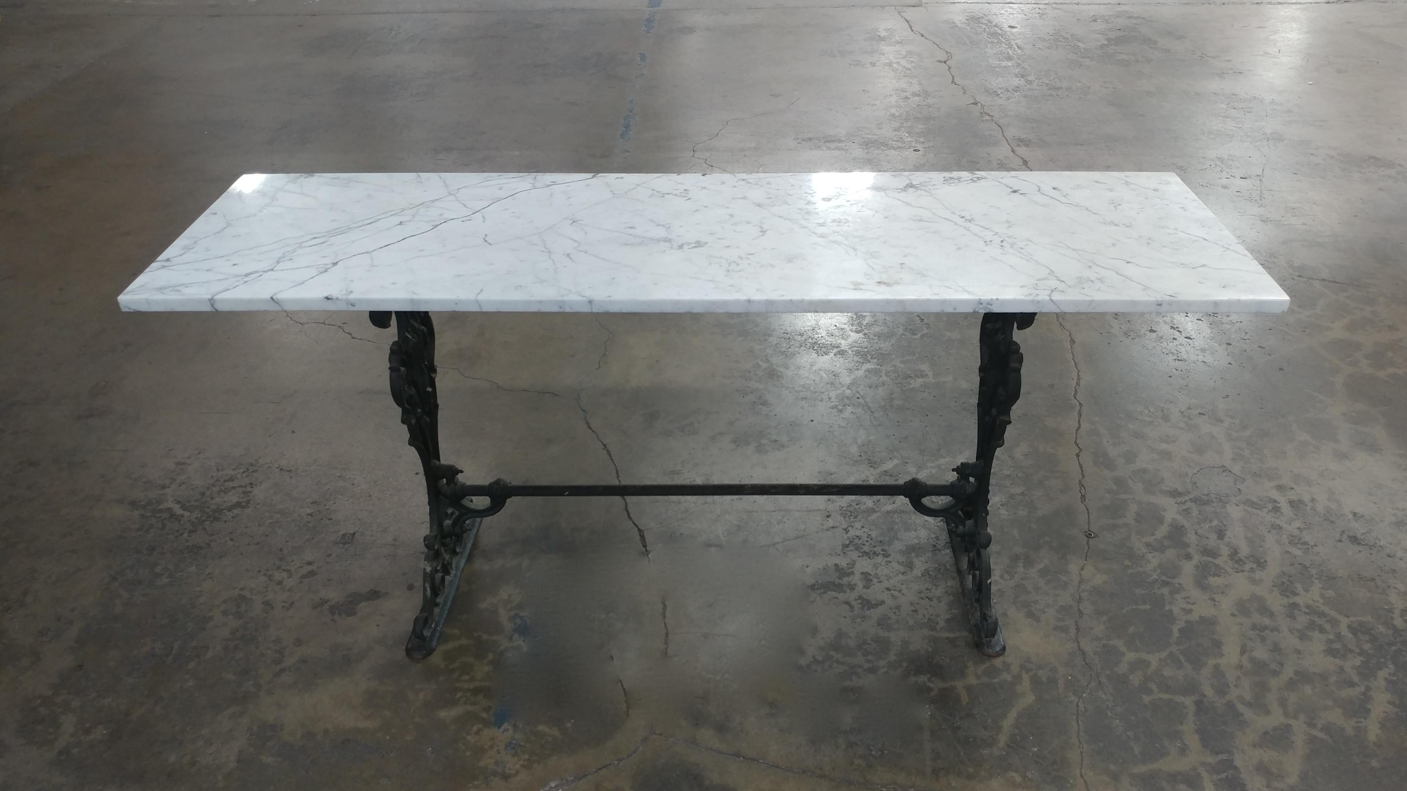19th Century French Iron U0026 Marble Top Pastry Table   Image 4 ...