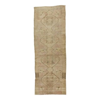 Vintage Washed Out Turkish Runner Rug - 4′3″ × 11′9″