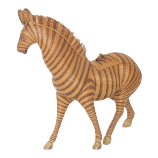 Woven Wicker Zebra Box or Sculpture