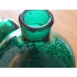 Image of Vintage Blenko Emerald Green Crackle Glass Bottle