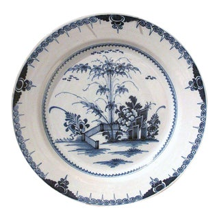 Large Lambeth 18th Century English Delft Charger Plate
