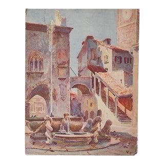 Vintage Lithograph N. Italy, Bergamo