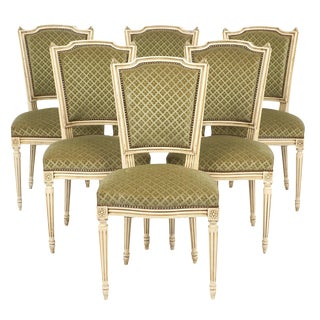 Antique French Louis XVI Style Sage Green Dining Chairs- Set of 6