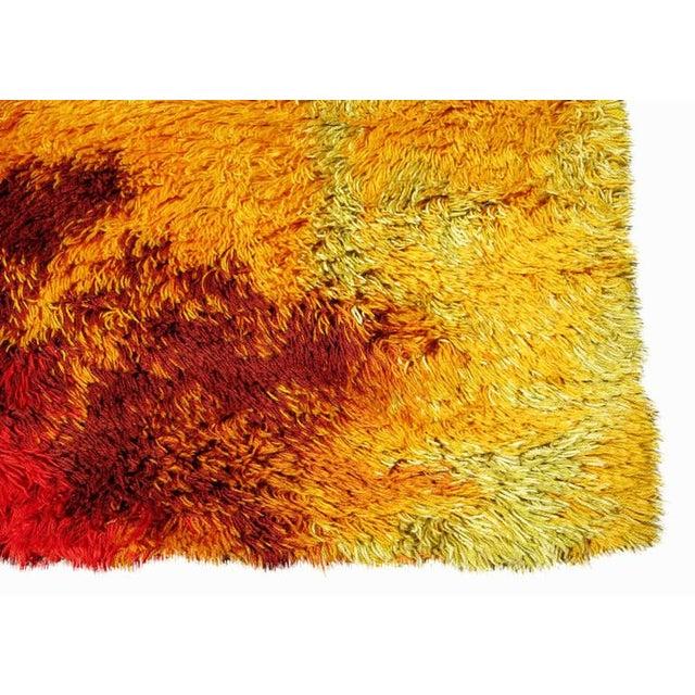 Scandinavian Fire Pattern Shag Rya Rug/Ege Rya - Image 3 of 4