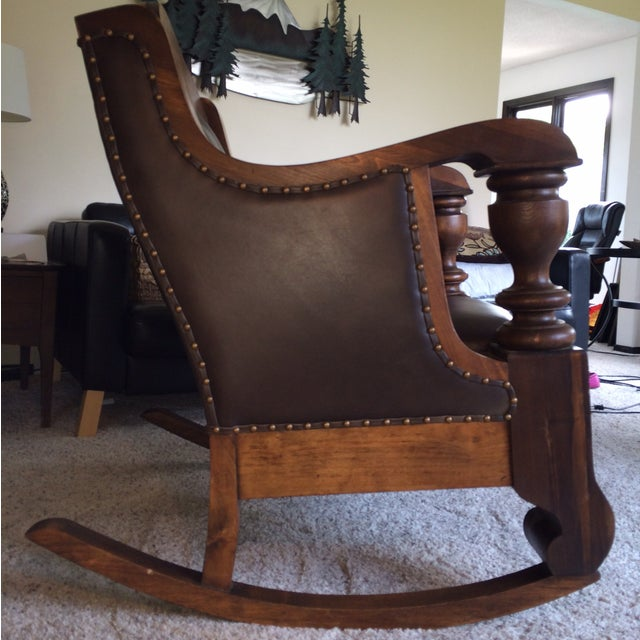 Antique Mission Style Oak & Leather Rocking Chair - Image 5 of 10