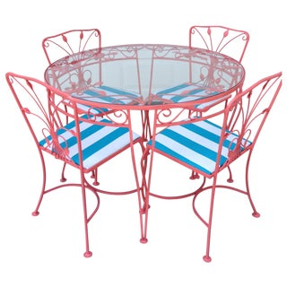 Vintage Wrought Iron Outdoor Dining Set