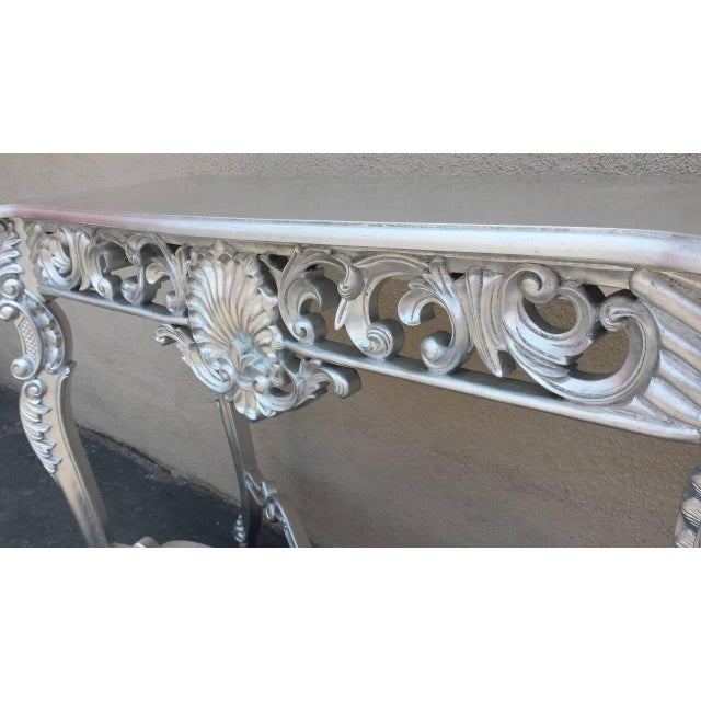 Louis XV Silver Hand-Carved Mahogany Console Table - Image 3 of 6
