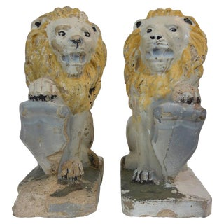 Painted Concrete Garden Lion Statues - a Pair