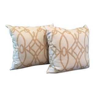 Tan and White Throw Pillows - A Pair