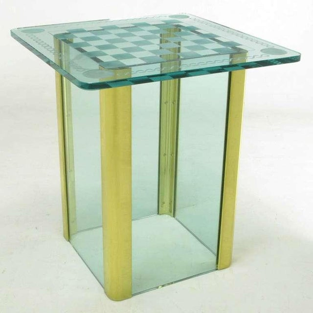 Elegant Etched Glass Game Table In The Style Of Pace Collection - Image 3 of 8