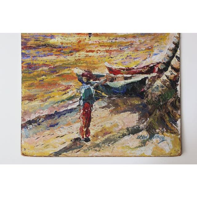 Errol Allen 1986 Jamaican Coastal Scene Painting - Image 5 of 5