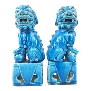 Peacock Blue Glazed Porcelain Antique Foo Dogs - A Pair