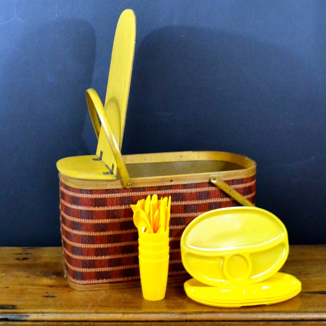 Vintage Picnic Basket & Dinnerware - Image 2 of 8