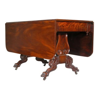 Classical Carved Mahogany Drop Leaf Table with Lyre Supports