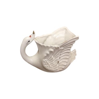 Vintage White Swan Vase