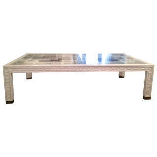 Fretwork Inlay Coffee Table with Brass Detail
