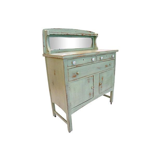 Image of Distressed Green Mirror Hutch