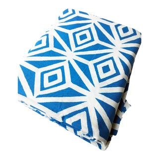 "Katherine Rally Batik ""Reverse Diamond"" Designer Fabric in Palm Beach Blue - 2.4 Yards"