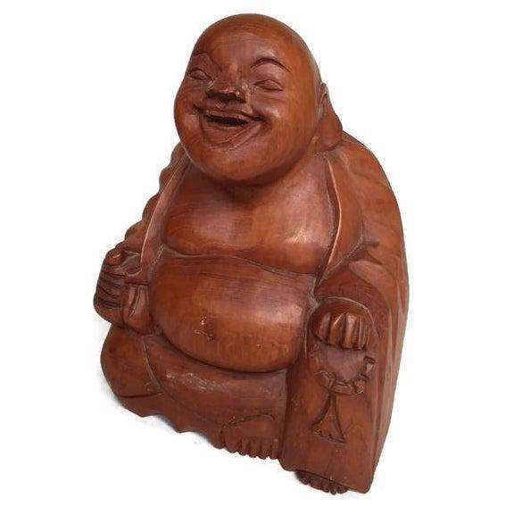 Vintage Laughing Buddha Wood Statue - Image 1 of 6