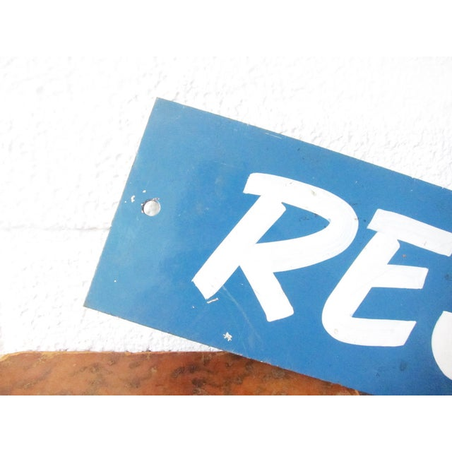 Image of Vintage Metal Reserved Sign - Blue, Hand Painted