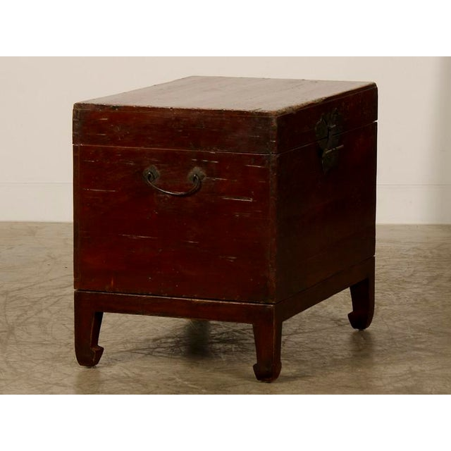 Image of Antique Chinese Red Lacquer Gilded Trunk Kuang Hsu Period circa 1875