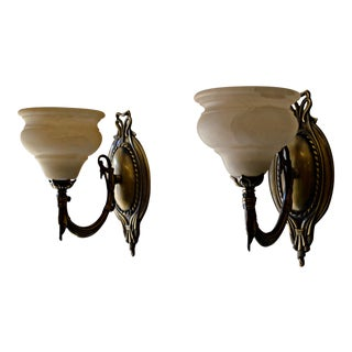 German Alabaster & Brass Sconces - A Pair
