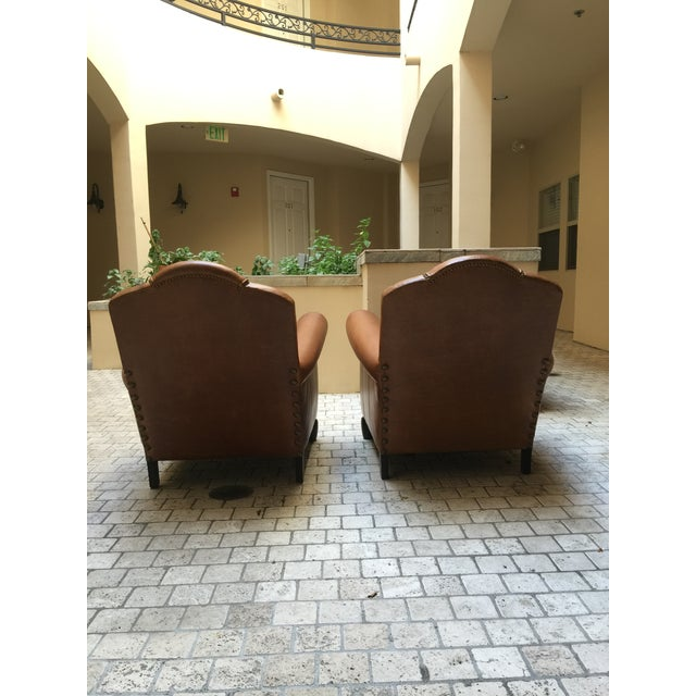 Studded French Leather & Mohair Armchairs - A Pair - Image 7 of 11