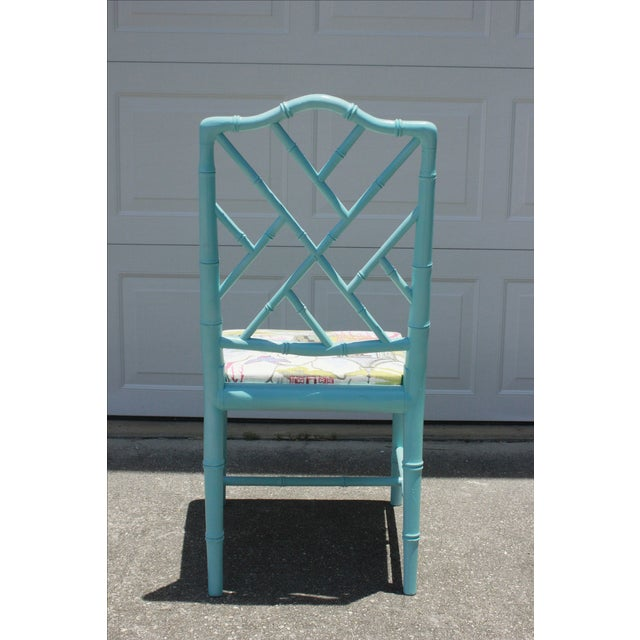 Vintage Faux Bamboo Chinese Chippendale Chair - Image 4 of 7