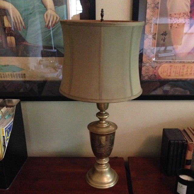 Vintage Brass Lamp with Engraved Chinese Scene - Image 2 of 6