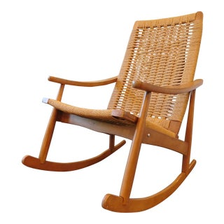 Vintage Yugoslavian Hans Wegner Style Wicker Rocking Chair