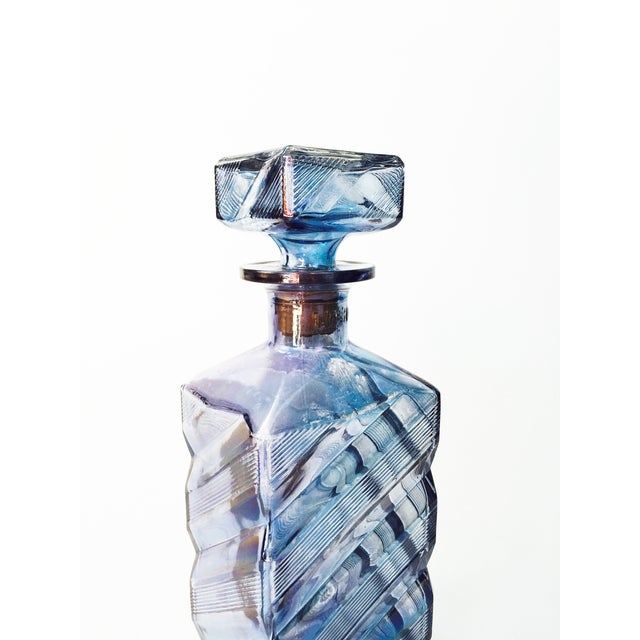 Vintage Geometric Blue Glass Decanter - Image 3 of 6