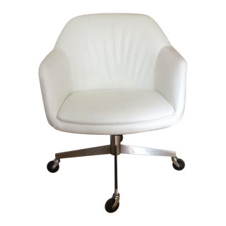 Vintage Textured White Pleather Desk Chair