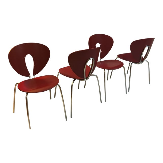 Design Within Reach Red Globus Chairs - Set of 4 - Image 1 of 6