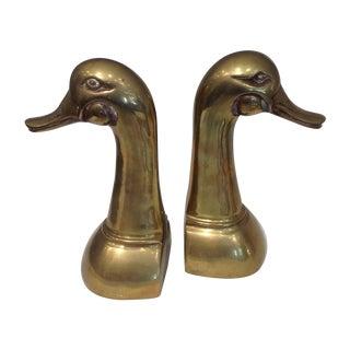 Tall Brass Duck Bookends - A Pair